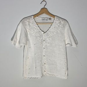 Vintage Floral Embroidered Pearl Button Knit Shirt